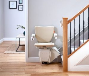 1100 Straight Stair Lift front view footrest up